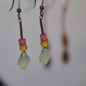 Jewelry - Chalcedony Earrings with Tourmaline accents